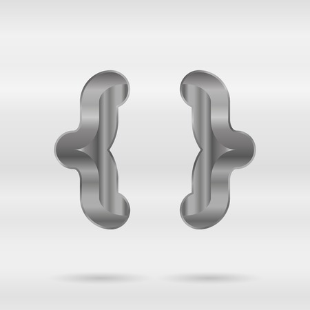 punctuation mark: Metallic alphabet. Set of stainless 3d letters. Vector punctuation mark curly braces.