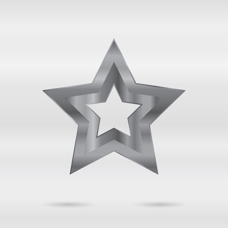 stainless: Metallic sign. Set of stainless 3d elements - vector star. Illustration