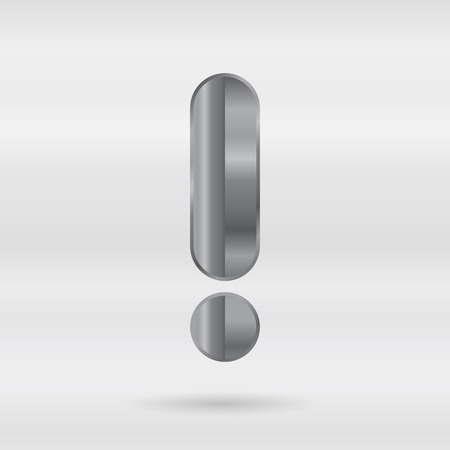 punctuation mark: Metallic alphabet. Set of stainless 3d letters. Vector punctuation mark - exclamation mark.