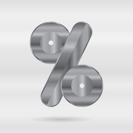 punctuation mark: Alfabeto met�lico. Conjunto de letras 3d inoxidable. Vector puntuacion marca - ciento marca.