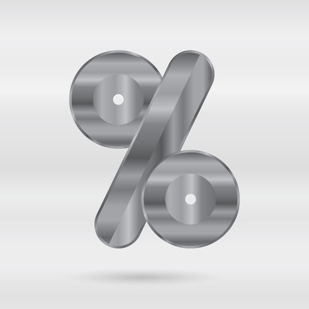 punctuation mark: Metallic alphabet. Set of stainless 3d letters. Vector punctuation mark - percent mark.