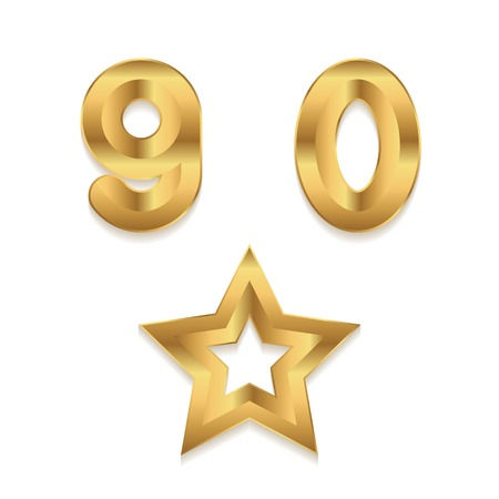0 9: Golden alphabet. Set of metallic 3d numbers. Vector digits 9 0. Star frame.