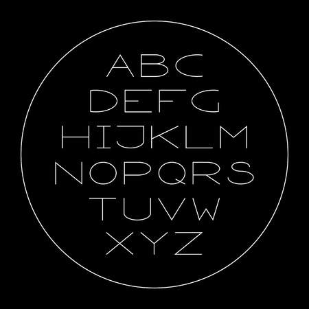 Thin lined modern alphabet. Vector outlined letters.