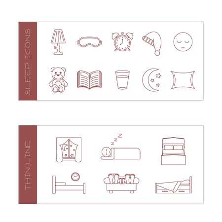 Set of isolated sleeping thin lined outlined icons. Vector signs for design of apps, interfaces, web sites, banners, presentations, etc. Vector