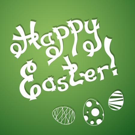 Text Happy Easter with festive eggs. Vector illustration in origami style with shadows. Vector