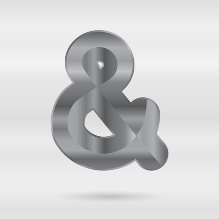 punctuation mark: Metallic alphabet. Set of stainless 3d letters. Vector punctuation mark ampersand.