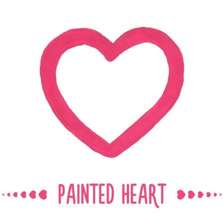 Painted hand drawn outlined pink heart. Vector illustration Vector