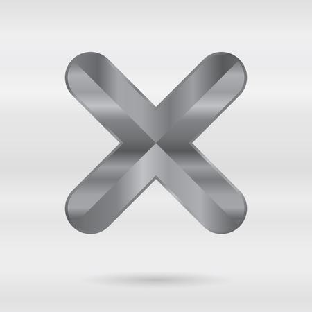 punctuation mark: Alfabeto met�lico. Conjunto de letras 3d inoxidable. Vector puntuacion marca - comprobar cruz. Vectores