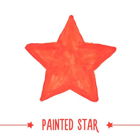 Painted hand drawn red star. Vector illustration Çizim