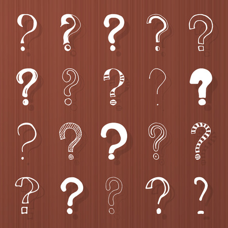 Set of hand drawn question marks on wooden brown texture. Vector illustration. Vector