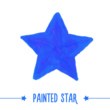 Painted hand drawn blue star. Vector illustration