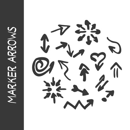 highlighter: Vector highlighter elements - hand drawn arrows