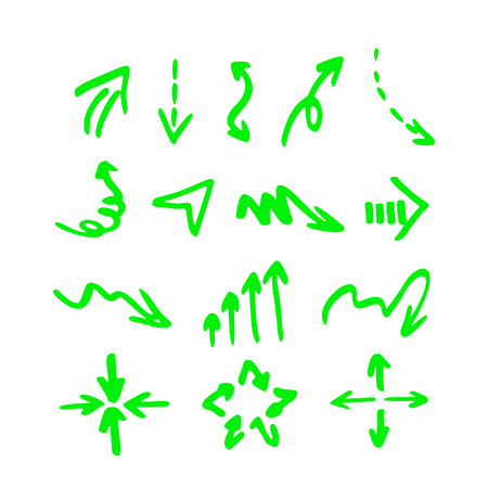 Vector highlighter elements - hand drawn arrows