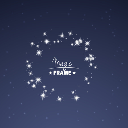 asterism: Magic frame for your text from shiny stars. Vector decoration element.