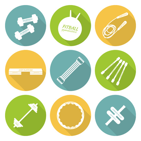 step fitness: Set of flat icons of tools and accessories for fitness, aerobics and sport. Dumbbells, fitball, jump rope, step platform, expander, gymnastic stick, barbell, hula hoop, gymnastic roller. Vector illustration