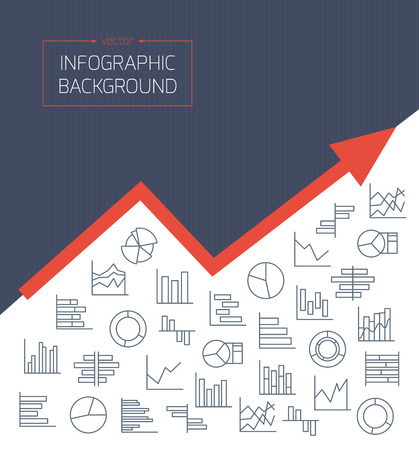 Business background with chart icons in thin lines. Infographic Elements Collection in modern outlined design style for presentation, booklet, website, banner, flyer, etc. Vector illustration Vector