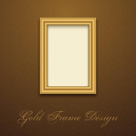 テキスト、画像、写真やデザインのゴールド フレーム。ベクター装飾的な要素