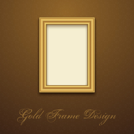 photo backdrop: Gold Frame for text, picture, photo or your design. Vector decorative element Illustration