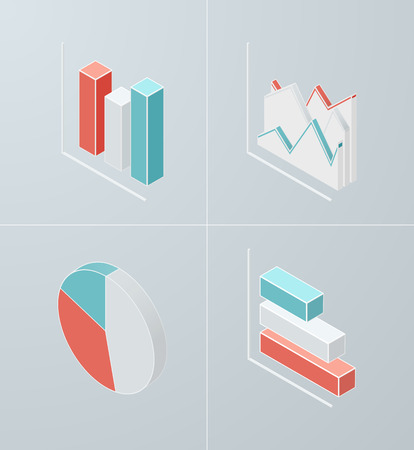 Set of isometric chart icons. Vector 3d graph for presentation, banner, report design. Vector