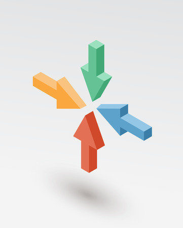 moving up: Set of isometric arrows. Vector 3d object for presentation, banner, report design.