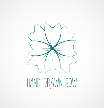 hands tied: Hand drawn sketch of blue festive bow. Vector isolated object for flyer, banner, brochure, etc.