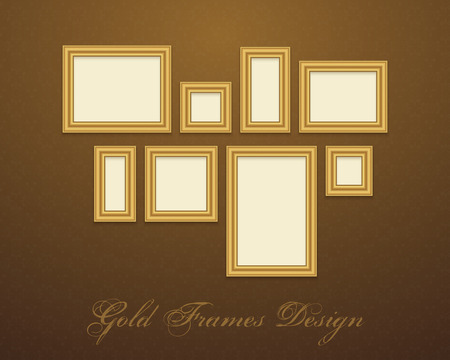 Gold Frame for text, picture, photo or your design. Vector decorative element Vector