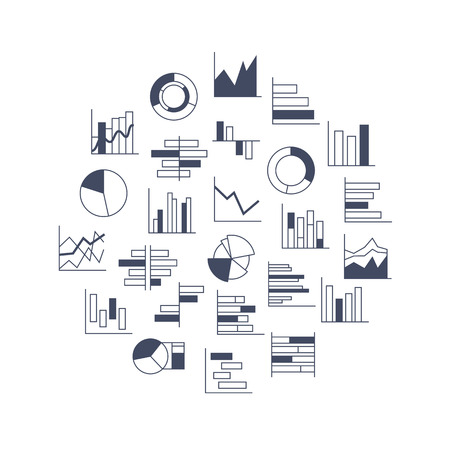Set of chart icons in thin lines. Infographic Elements Collection in modern outlined design style for presentation, booklet, website etc. Vector illustration Vector