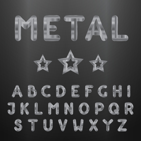 Metallic alphabet. Set of stainless 3d letters. Vector letters and stars. Vector