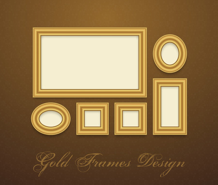 vintage photo frame: Gold Frame for text, picture, photo or your design. Vector decorative element Illustration