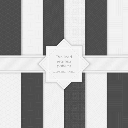 rhomb: Set of geometric minimalistic thin lined seamless patterns in light and dark colors. Vector illustration