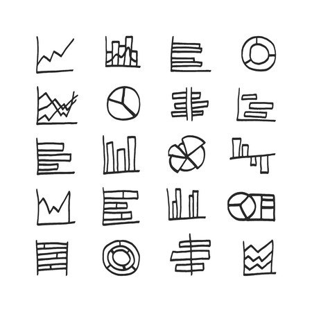 Vector highlighter elements - hand drawn set of chart icons. Infographic Elements Collection in doodle design style for presentation, booklet, website etc. Vector illustration Vector