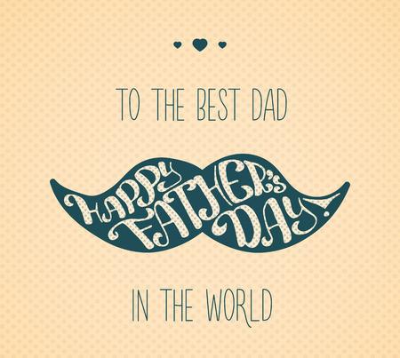 familias felices: Letras de padres feliz día. Enhorabuena tipográfica en forma de bigote para la tarjeta, bandera, diseño de la postal.