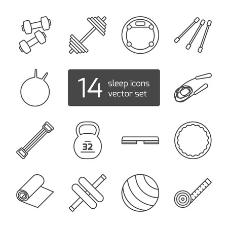 jump rope: Set of isolated thin lined outlined icons. Tools and accessories for aerobics and sport. Dumbbells, fitball, jump rope, step, expander, gymnastic stick, barbell,  roller. Vector illustration