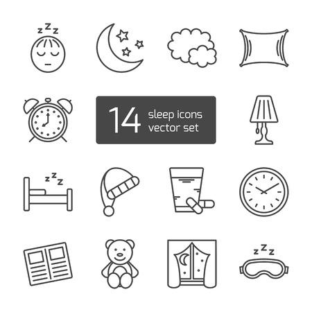chambre à coucher: Set de dormir isolé mince bordée icônes décrites. signes vectorielle pour la conception d'applications, des interfaces, des sites Web, des bannières, des présentations, etc.