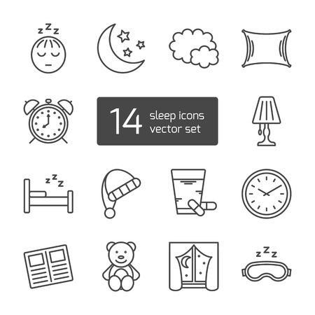 sleep: Set of isolated sleeping thin lined outlined icons. Vector signs for design of apps, interfaces, web sites, banners, presentations, etc. Illustration