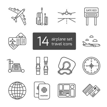 biglietto: Set di icone isolati sottili delineati allineati. Strumenti e accessori per i viaggi aerei. Illustrazione vettoriale