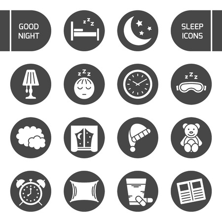 sleeping pills: Set of isolated sleeping icons. Vector signs for design of apps, interfaces, web sites, banners, presentations, etc. Illustration