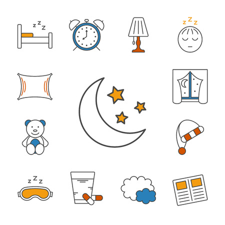 sleeping pills: Set of isolated sleeping thin lined outlined icons. Vector signs for design of apps, interfaces, web sites, banners, presentations, etc. Illustration