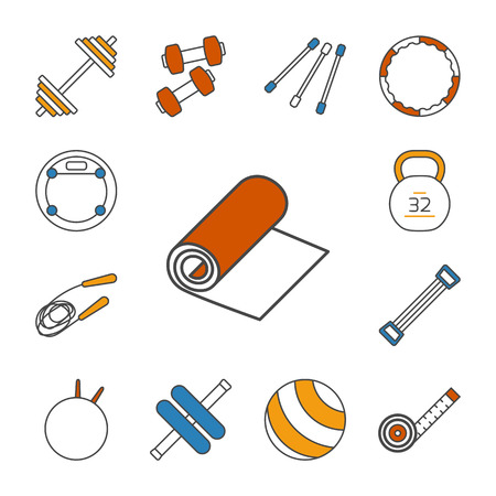 jump rope: Set of isolated thin lined outlined icons. Tools and accessories for aerobics and sport. Dumbbells, fitball, jump rope, step, expander, gymnastic stick, barbell,roller. Vector illustration