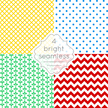 gift wrapping: Set of bright seamless patterns for design of holiday decoration, greeting card, gift wrapping paper.