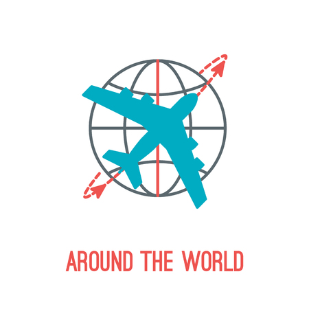 Vector illustration of airplane travel in thin lined style with isolated airplane flying around the globe with compass. Can be used as logo or element of your design for travel agency.