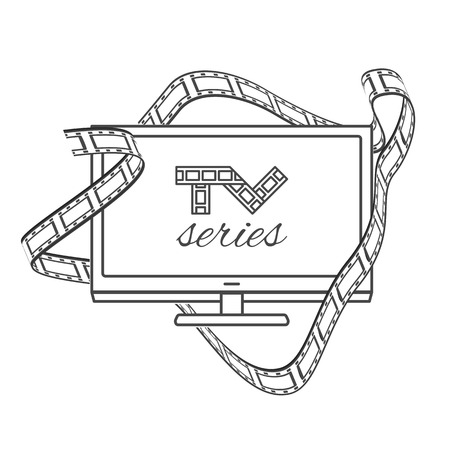 flat panel: Isolated TV series thin lined outline icon. Vector outlined concept with logo of television series shown on flat panel TV and cinema film in black and white contours.