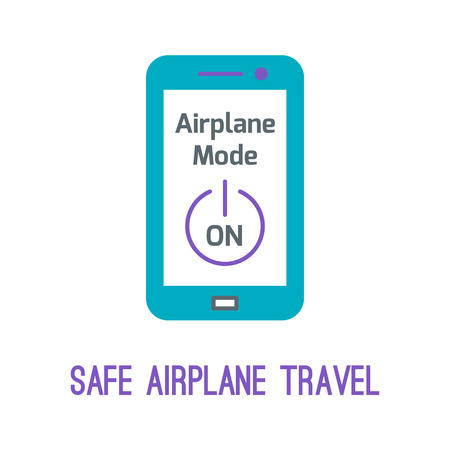 flight mode: Thin line icons for airplane safety concept