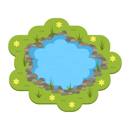 lake shore: Cartoon vector garden pond illustration with water, plants and animals. Isolated summer pond life clipart in flat style. Illustration