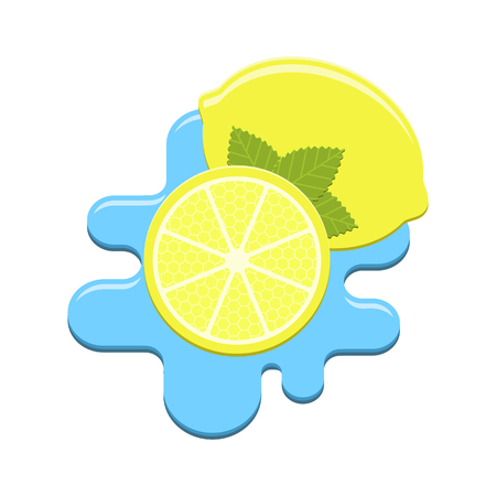 rind: Vector mint and lemon in water