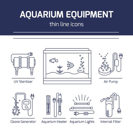 Thin line vector icons - équipement d'aquarium