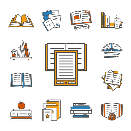 reader: Thin lined book icons set. Vector isolated on white outlined signs of different opened and closed books in front and top view.