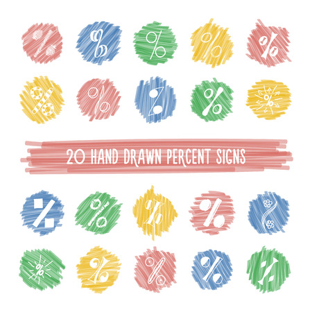 pen and marker: Set of different hand drawn doodle percent signs on colorful bright highlight spots. Vector icons collection of marker circles with sketches of elements.