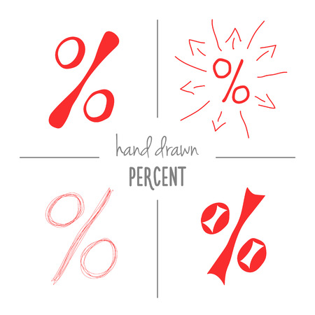 cent: Set of red hand drawn doodle percent signs. Vector sketch of isolated cartoon per cent mark icons for sale or discount banners.
