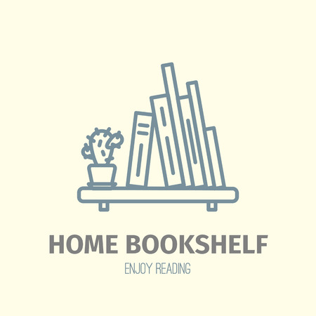 store shelf: Thin lined book shelf icon. Illustration